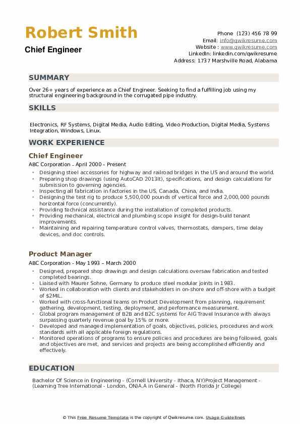 Chief Engineer Resume example