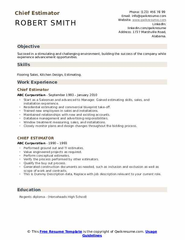 Chief Estimator Resume example