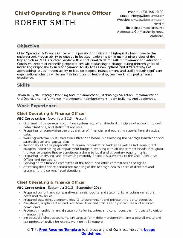 Chief Operating & Finance Officer Resume Format