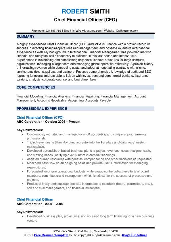 Chief Financial Officer (CFO) Resume Model