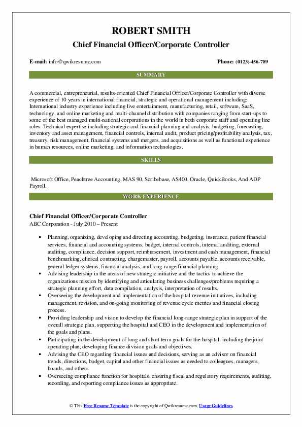 Chief Financial Officer/Corporate Controller Resume Example