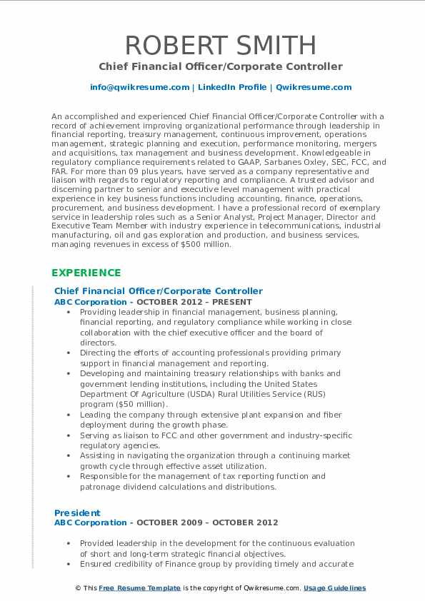 Chief Financial Officer/Corporate Controller Resume Template