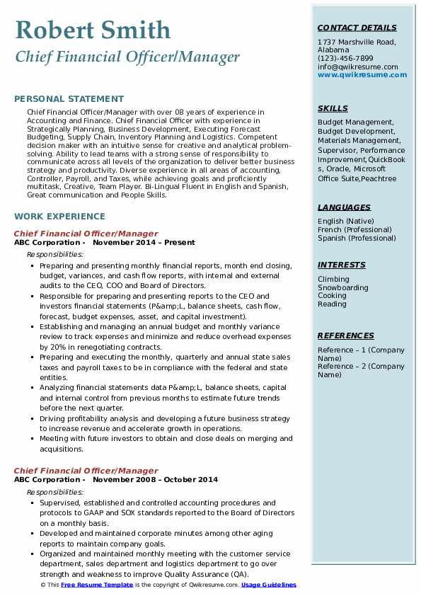 Chief Financial Officer/Manager Resume Template