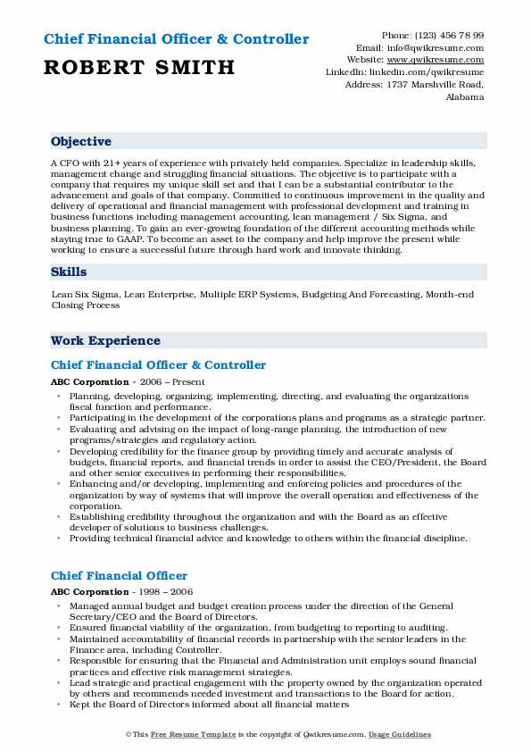 Chief Financial Officer & Controller Resume Format