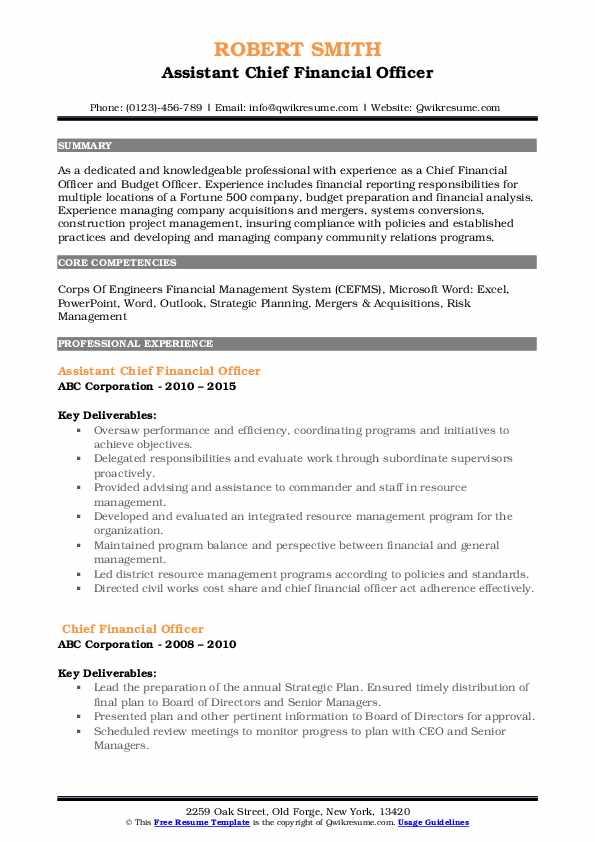 chief financial officer resume samples