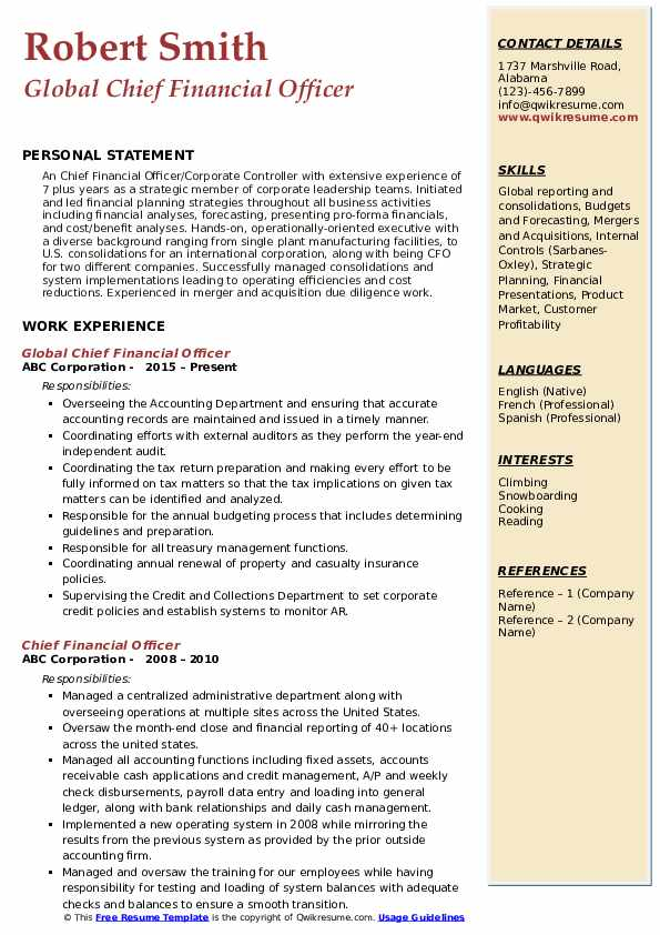 Global Chief Financial Officer Resume Format