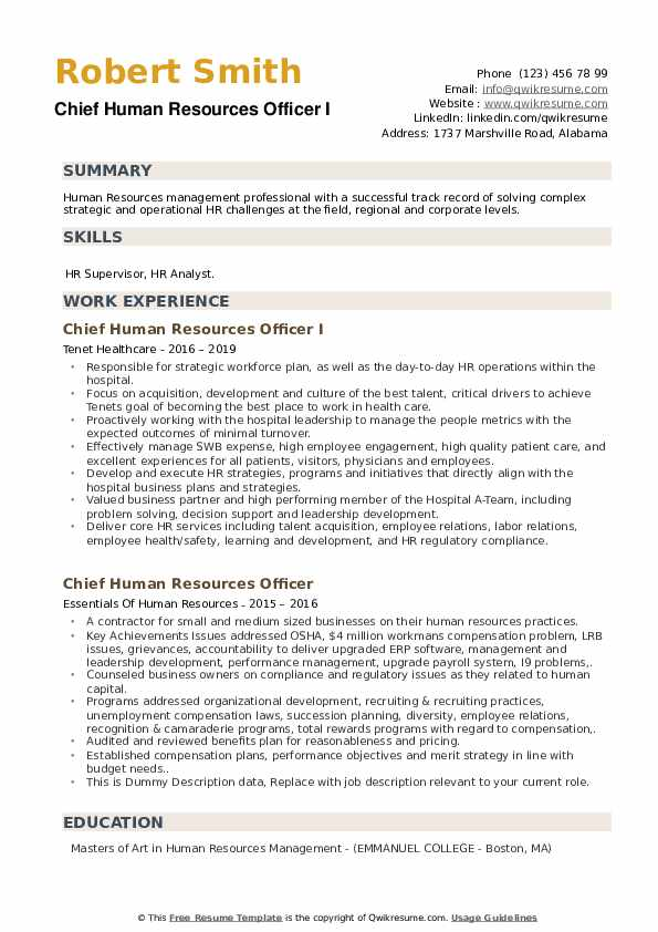 Chief Human Resources Officer Resume example