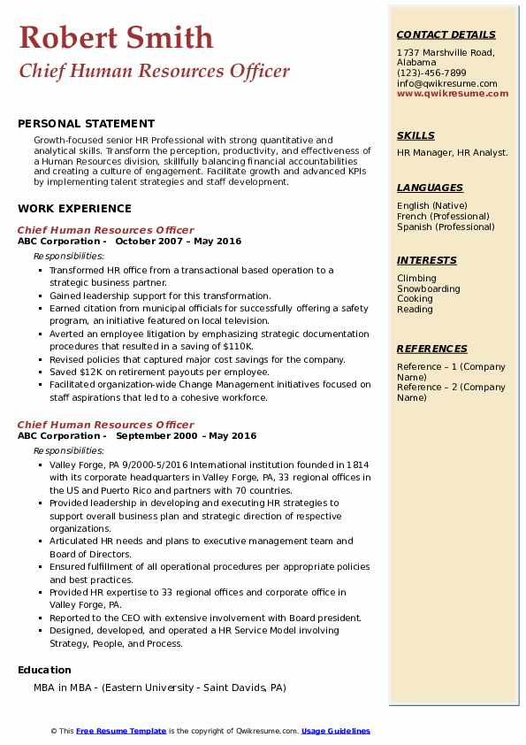 chief human resources officer resume samples
