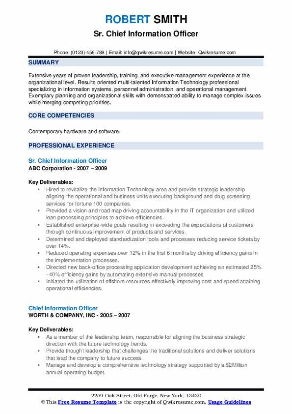 Sr. Chief Information Officer Resume Template