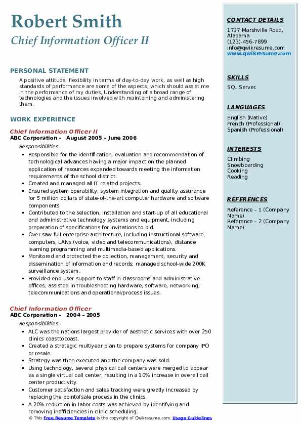 Chief Information Officer II Resume Sample