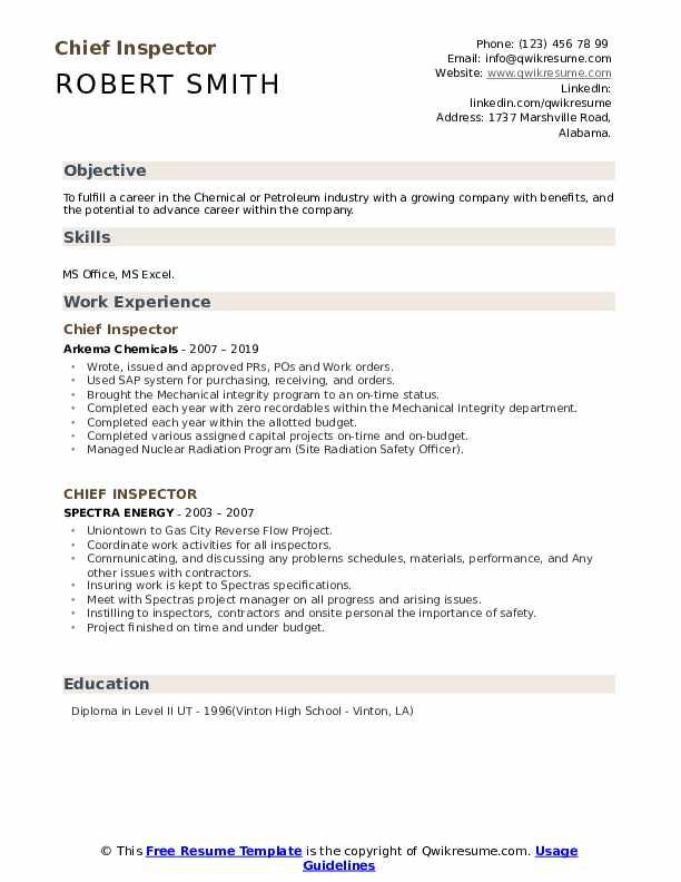 Chief Inspector Resume example