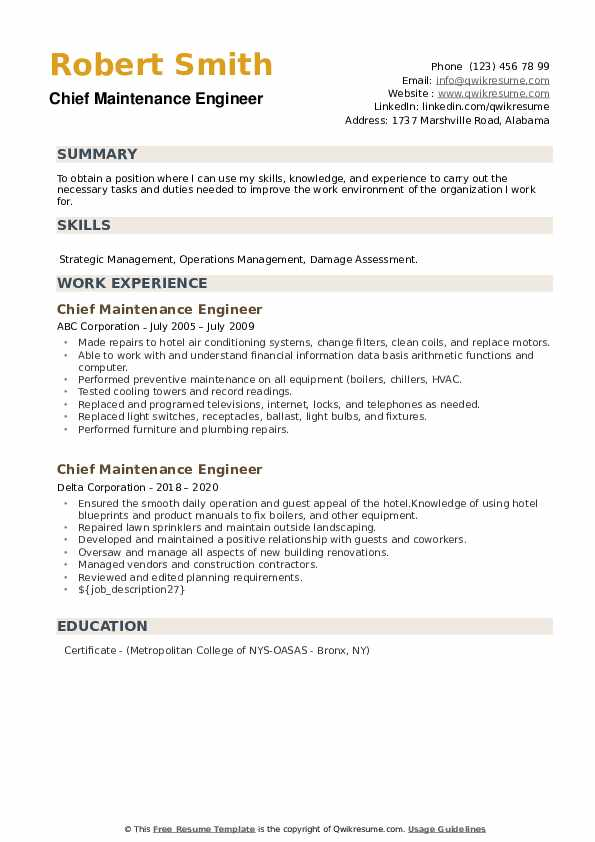 Chief Maintenance Engineer Resume example