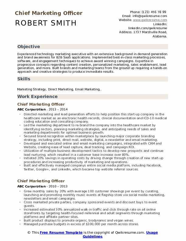 chief marketing officer resume samples