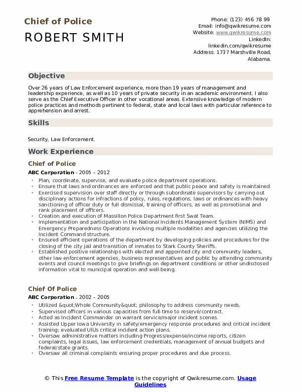Chief of Police Resume Template