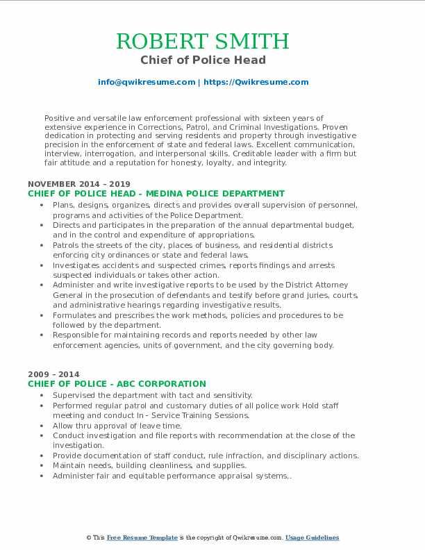 Chief of Police Head Resume Model