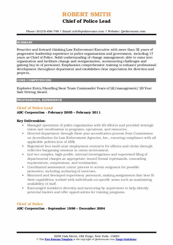 Chief of Police Lead Resume Sample