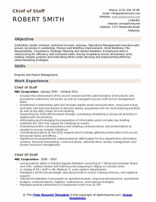 Chief of Staff Resume Format