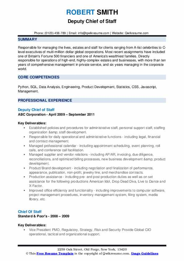 chief of staff resume samples