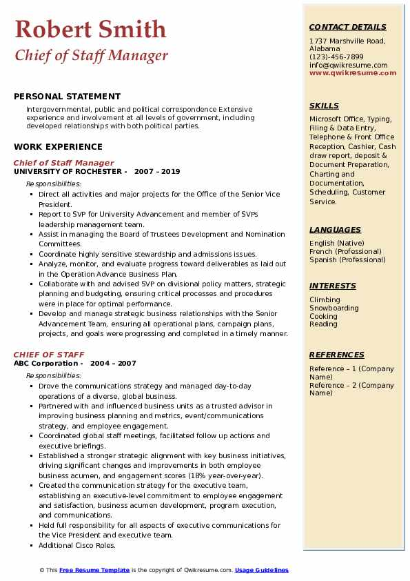 Chief of Staff Manager Resume Example