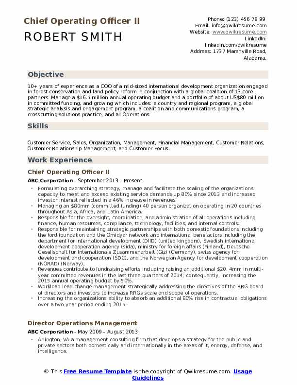 Chief Operating Officer II Resume Format
