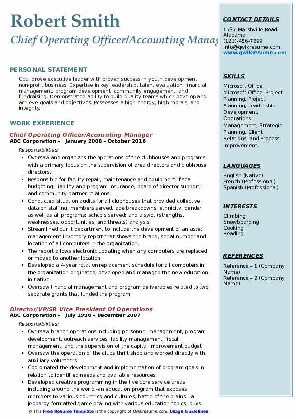 Chief Operating Officer/Accounting Manager Resume Example
