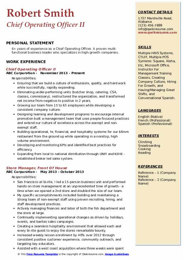 Chief Operating Officer II Resume Model