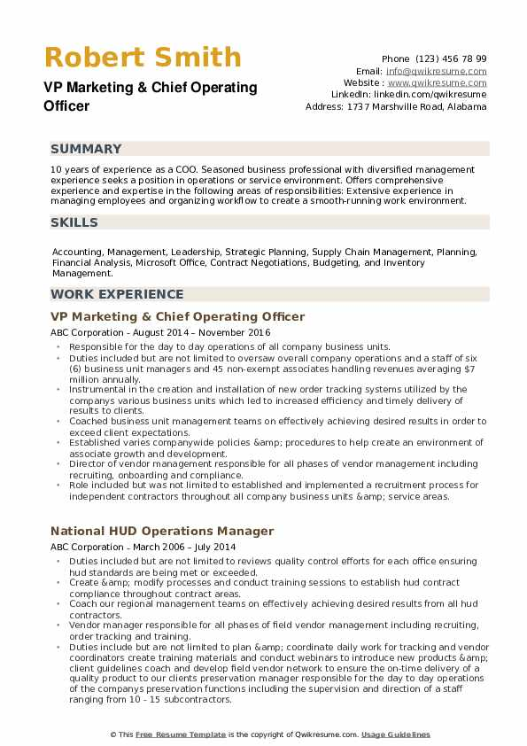 Chief Operating Officer Resume Samples Qwikresume