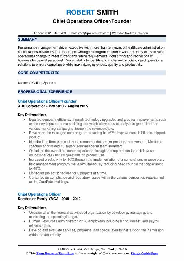 Chief Operations Officer Resume Samples | QwikResume
