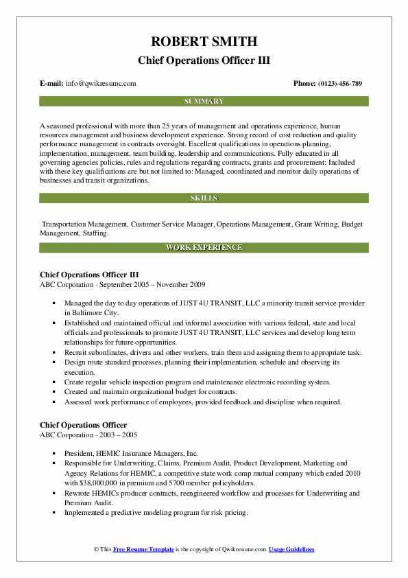 Chief Operations Officer Resume Samples