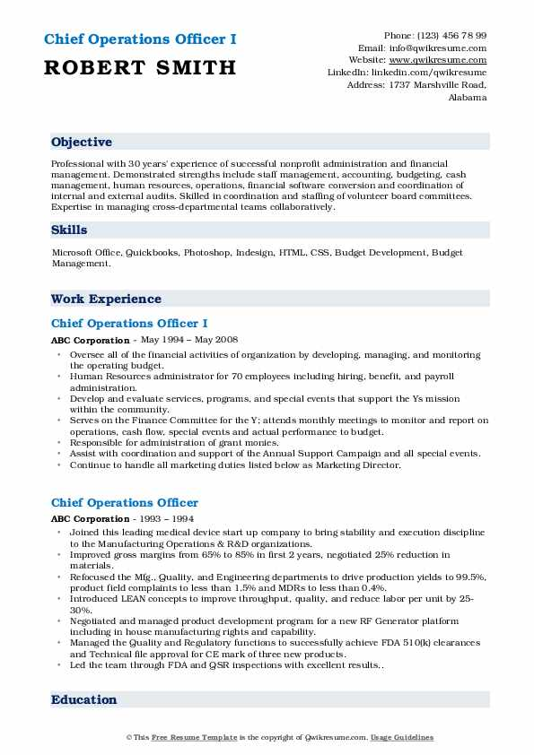 Chief Operations Officer I Resume Template