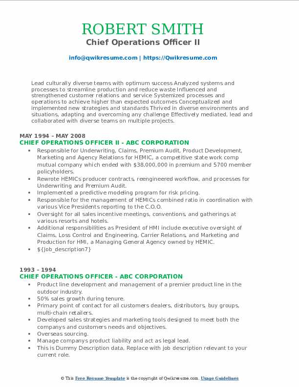 Chief Operations Officer II Resume Sample