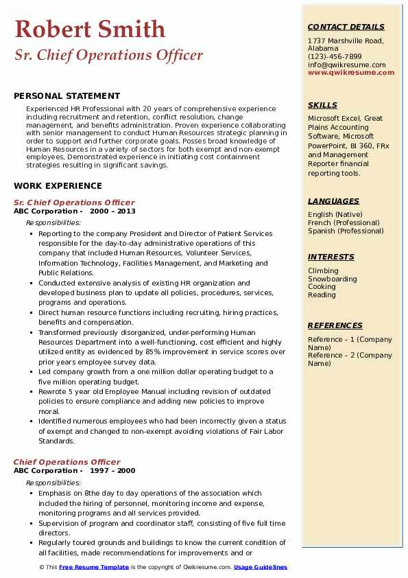 Sr. Chief Operations Officer Resume Template