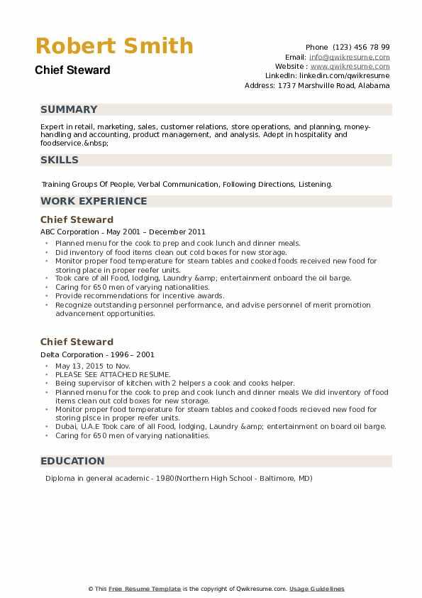 Chief Steward Resume example