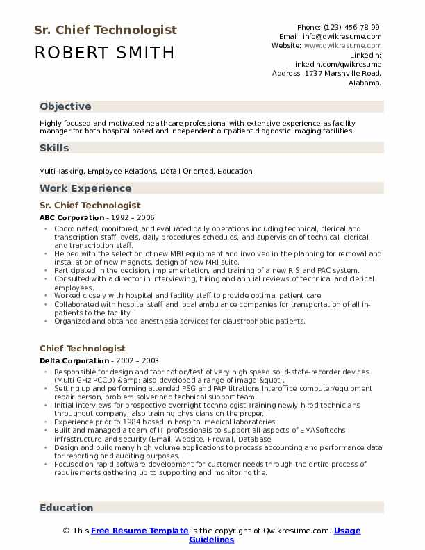 Chief Technologist Resume example