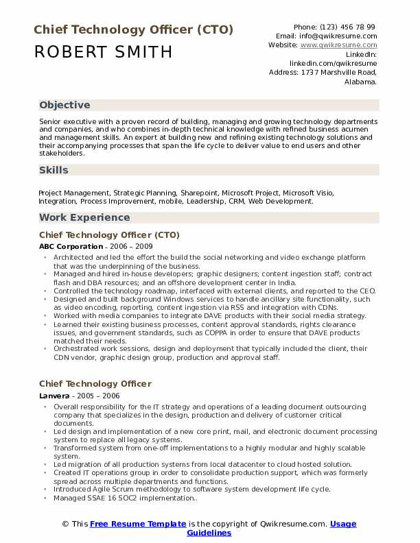 Chief Technology Officer Resume Samples Qwikresume