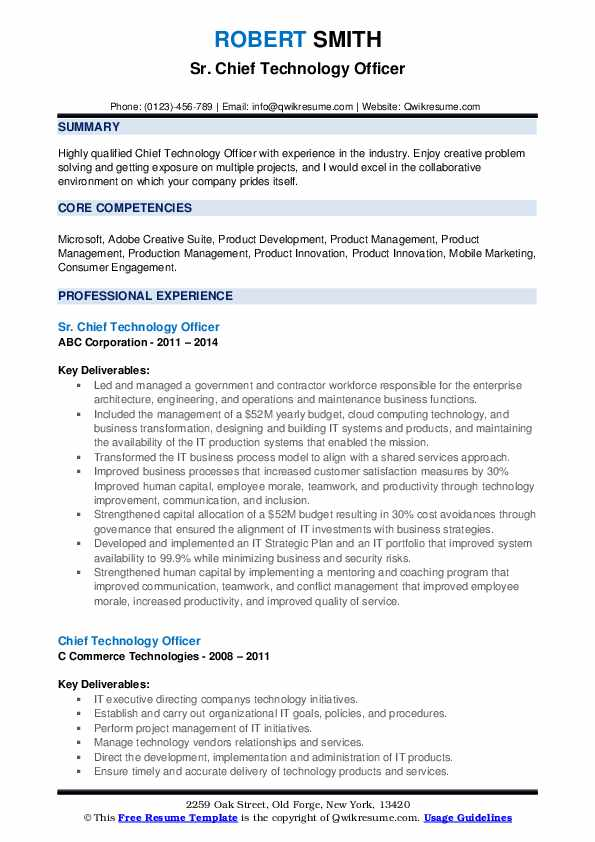 Sr. Chief Technology Officer Resume Model