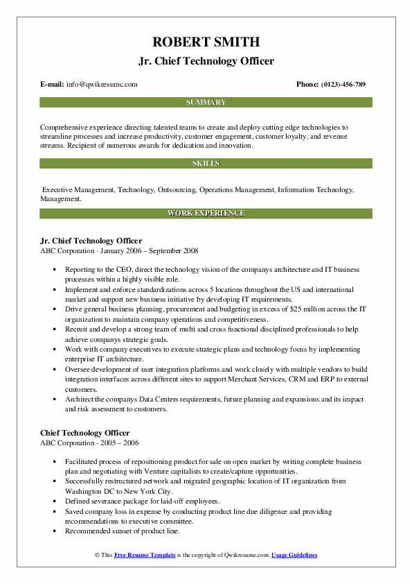 chief technology officer resume samples