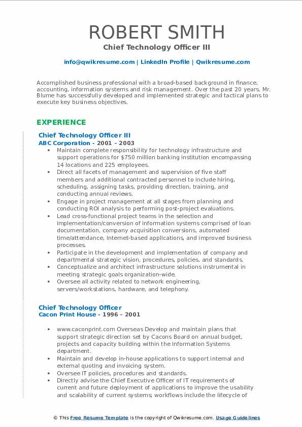 Chief Technology Officer III Resume Format