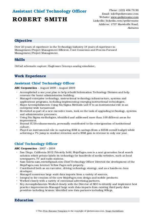 Assistant Chief Technology Officer Resume Format