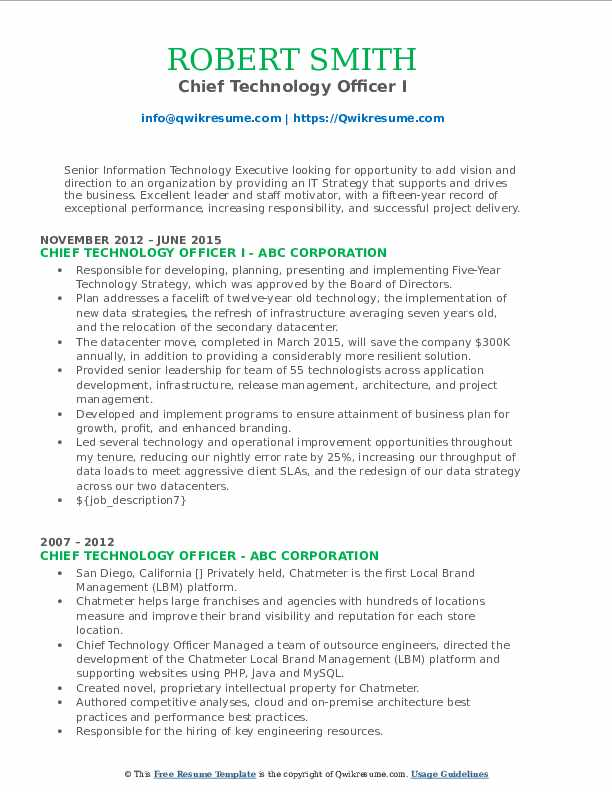 Chief Technology Officer I Resume Template