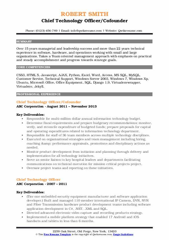 Chief Technology Officer/Cofounder Resume Model