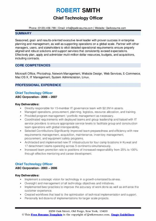 Chief Technology Officer Resume example