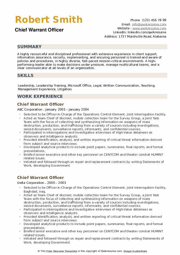 Chief Warrant Officer Resume example