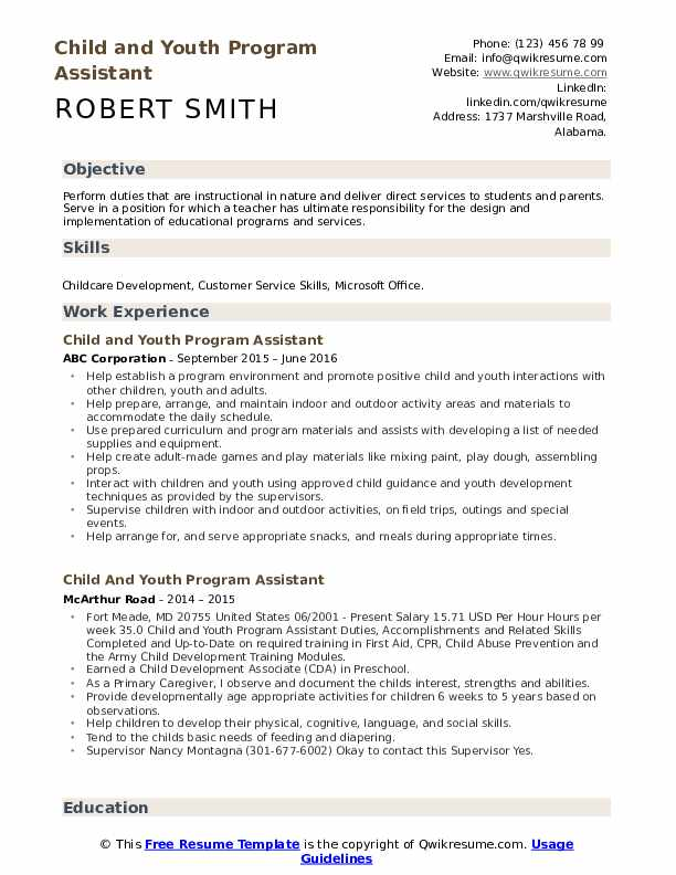 Child and Youth Program Assistant Resume Format