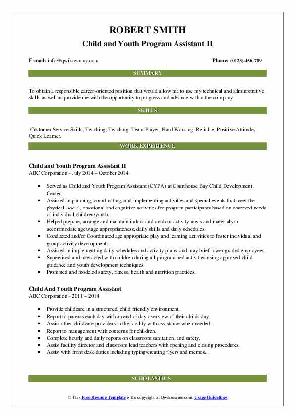 Child and Youth Program Assistant II Resume Template
