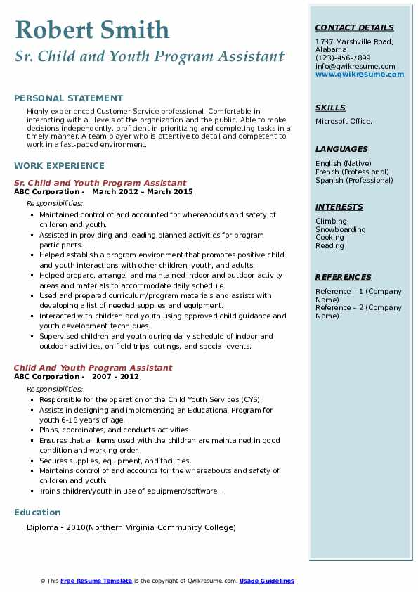 Sr. Child and Youth Program Assistant Resume Sample