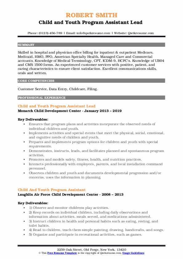 Child and Youth Program Assistant Lead  Resume Model