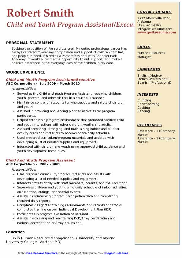 Child and Youth Program Assistant/Executive Resume Example