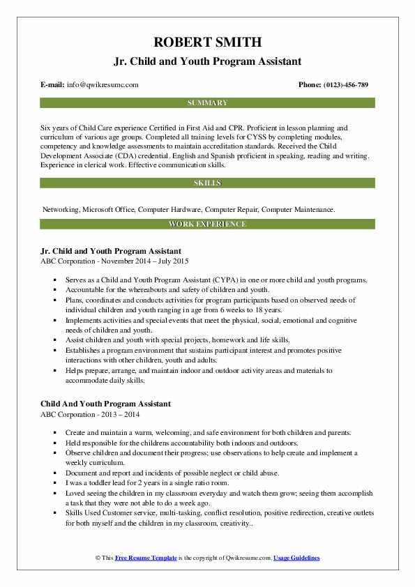 Jr. Child and Youth Program Assistant Resume Template