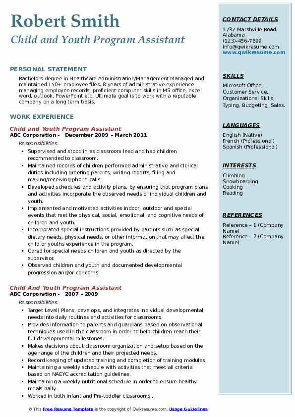 child and youth program assistant resume samples